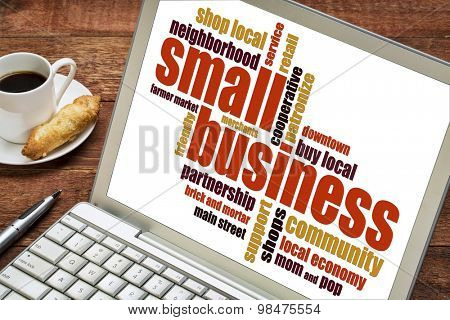 small business word cloud on a laptop with a cup of coffee