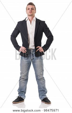 Full body shot of attractive young man with jacket and jeans