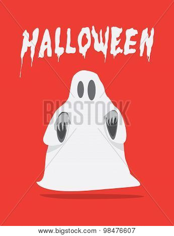 Red Poster Of White Sheet Ghost On Halloween Flat Vector.