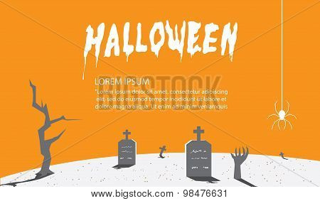 Halloween Signs Of Orange For Content With A Background As A Tomb Flat Vector.