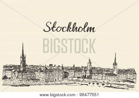 Stockholm skyline vector engraved drawn sketch