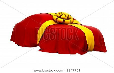 Car Of Dream Covered With Red Cloth