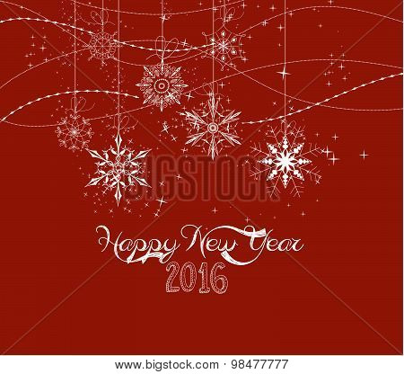 Happy new year 2016 doodle snowflakes