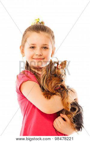 Close portrait of nice girl hug little pet dog