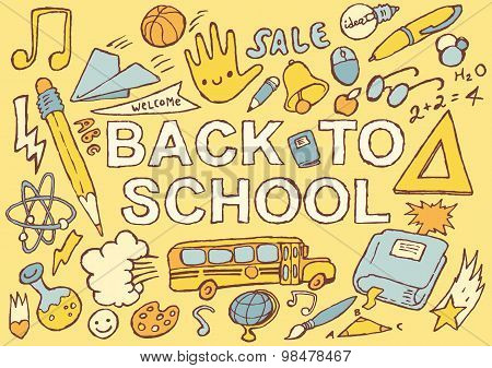 Back to school hand drawn vector illustration