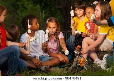 Group of children with s'mores near bonfire