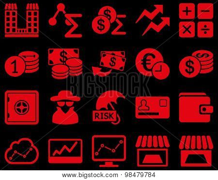 Accounting service and trade business icon set.