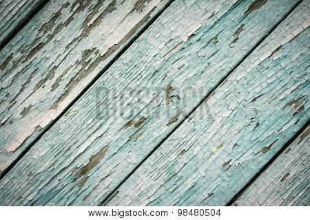 Blue Paint On Old Diagonal Wooden Fence