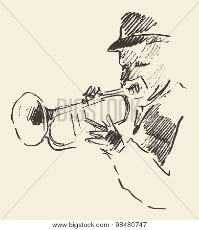 Jazz poster trumpet music acoustic consept