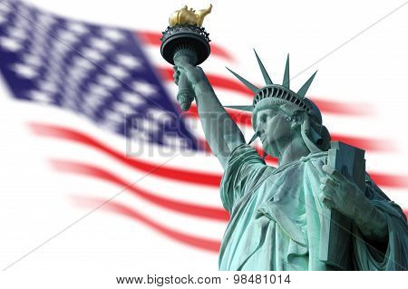 Statue of Liberty on Island in New York with flag of the United States of America