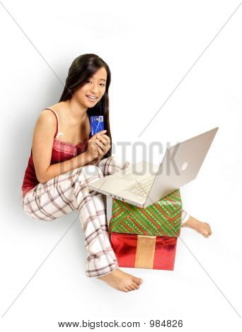 Girl On Laptop With Credit Card