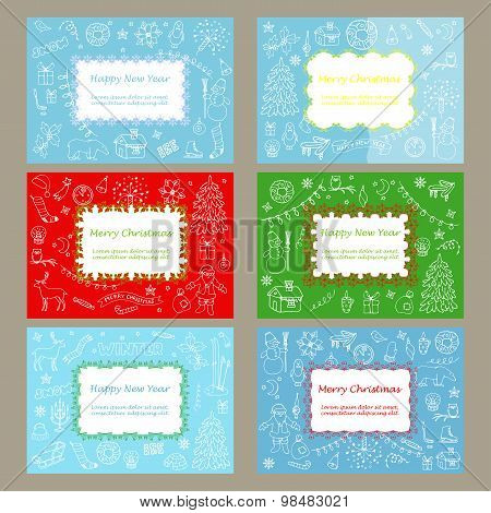 Greeting card set with winter hand drawn doodle elements