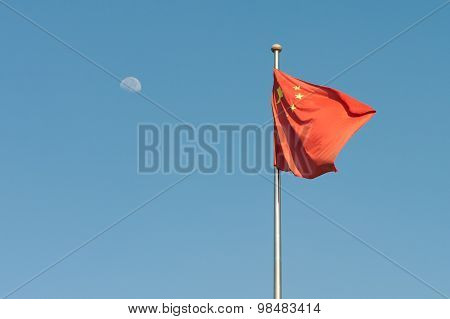 Chinese Flag And Moon