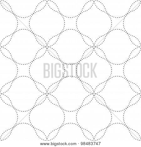 Black And White Geometric Seamless Pattern In Modern Stylish With Wavy Dashed Line, Abstract Backgro