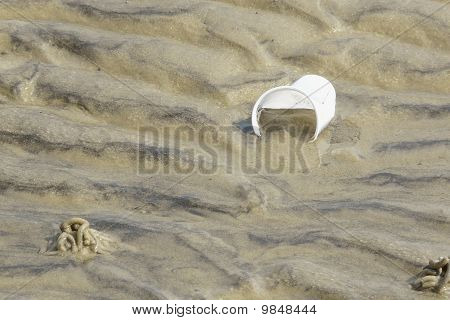 Plastic Waste In The Mudflats, Island Of Sylt, Germany
