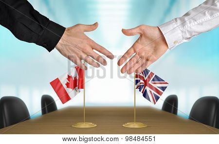 Canada and United Kingdom diplomats agreeing on a deal