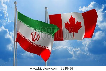 Iran and Canada flags flying together for diplomatic talks
