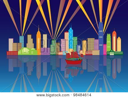 Hong Kong City Skyline Night Color Panorama Vector Illustration