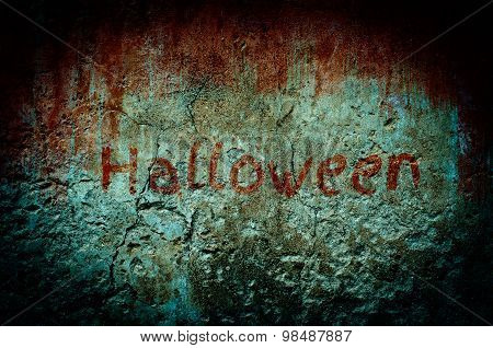 Bloody Stain On Dirty Brick Wall With Vintage And Vignette Tone - Halloween And Horror Background