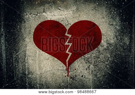 Heart Broken Painted On Grunge Cement Wall Background - Love Concept