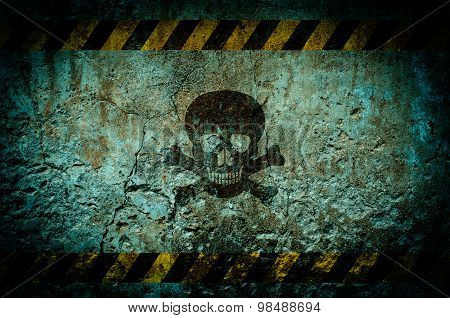 Toxic Warning Symbol On Dirty Wall Background With Grunge And Vignette Tone