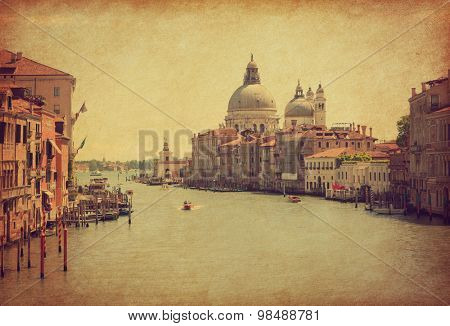 The Grand Canal in Venice, Italy.  Added paper texture. Toned image