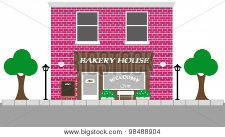 Vintage Street View With Bakery House