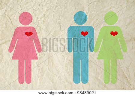 Sign Of Male And Female With Broken Heart On Vintage Paper Texture Background