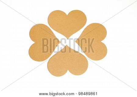 Group Of Brown Heart Tag, Made From Recycle Paper