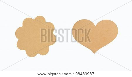 Brown Tag Isolate On White With Clipping Path, Tag Made From Recycle Paper