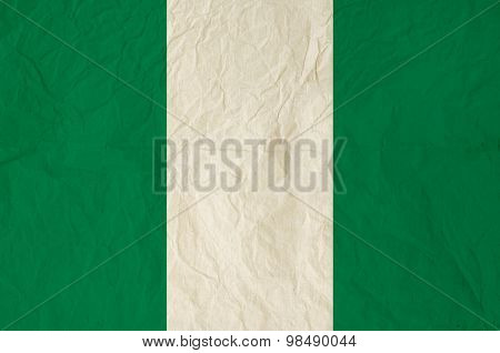 Flag Of Nigeria With Old Vintage Paper Texture Background