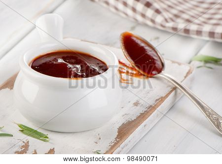 Sweet Bbq Sauce In  White Bowl.