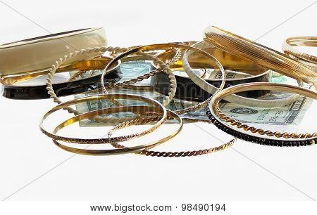 Lot Of Golden Bracelets And Two Dollars