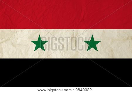 Flag Of Syria With Vintage Old Paper Texture