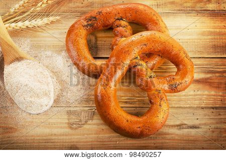Pretzels On A  Old Wooden Table.