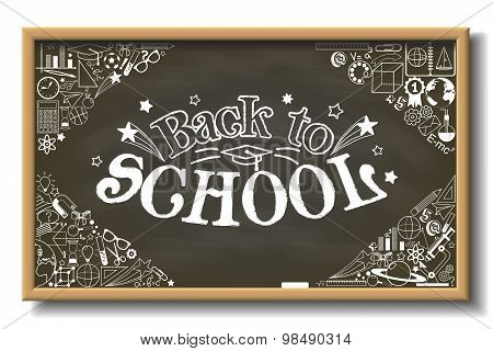 Back to School sign on horizontal chalkboard with doodle stationery and other school subjects
