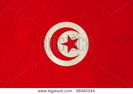 Flag Of Tunisia With Old Vintage Paper Texture Background