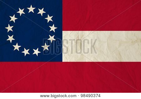 Flag Of The Confederate States Of America With Old Vintage Paper Texture
