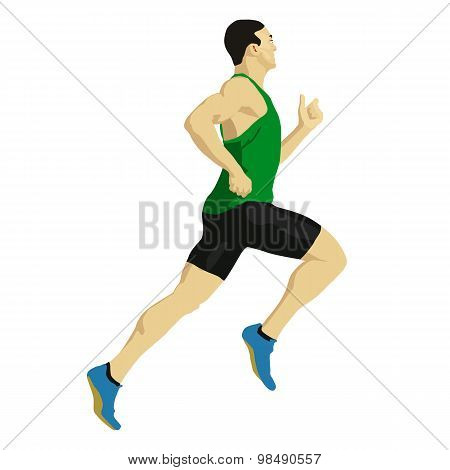 Runner Vector Drawing. Illustration Athlete