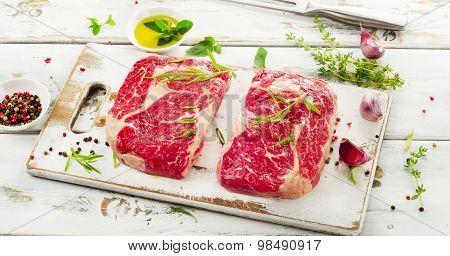 Raw Rib Eye Steaks
