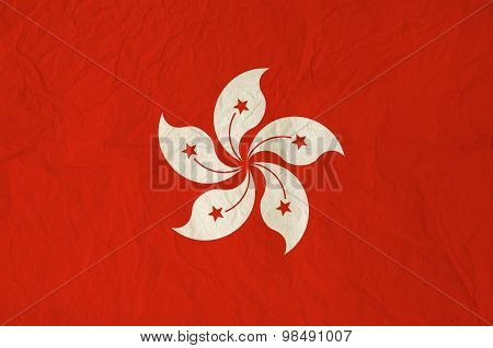 Flag Of Hong Kong With Vintage Old Paper