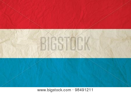 Flag Of Luxembourg With Vintage Old Paper