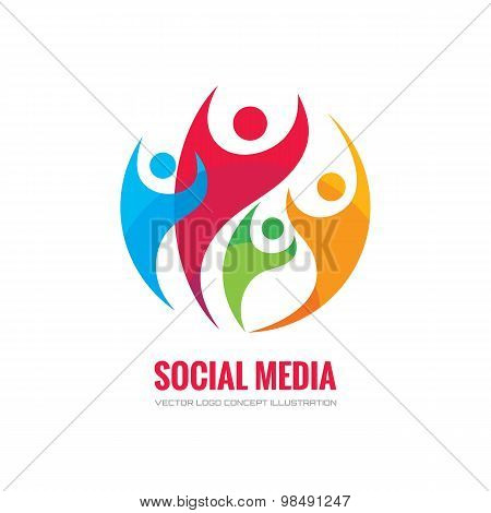 Social media - vector logo concept illustration. Human character logo. People logo. Abstract people