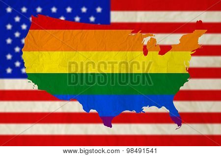 Rainbow Flag On United States Of America With Usa Flag Background
