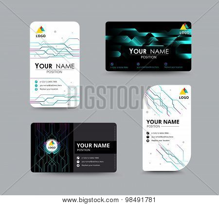 Digital And Technology Graphic Business Card. Flyer Template. Vector Illustration.