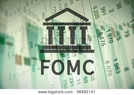 Building icon with inscription FOMC