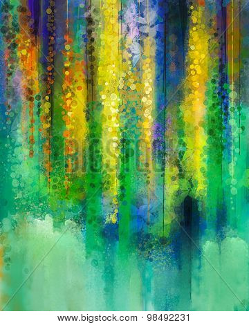 Abstract Yellow Color Flowers. Watercolor Painting. Spring Yellow Flowers Wisteria Tree