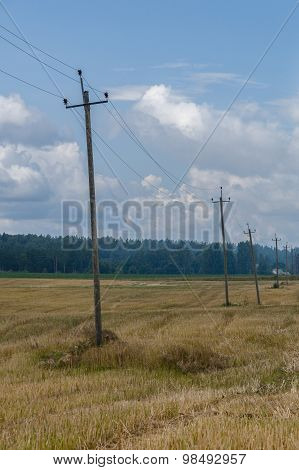 Old Wooden Telephone Poles In Countryside, Rural Background
