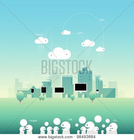 City Comunication Network Cloud With Flat Style. Vector Illustration Banner And Background.