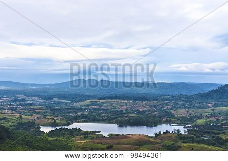 mountain valley and lake at cloudy day of Thailand